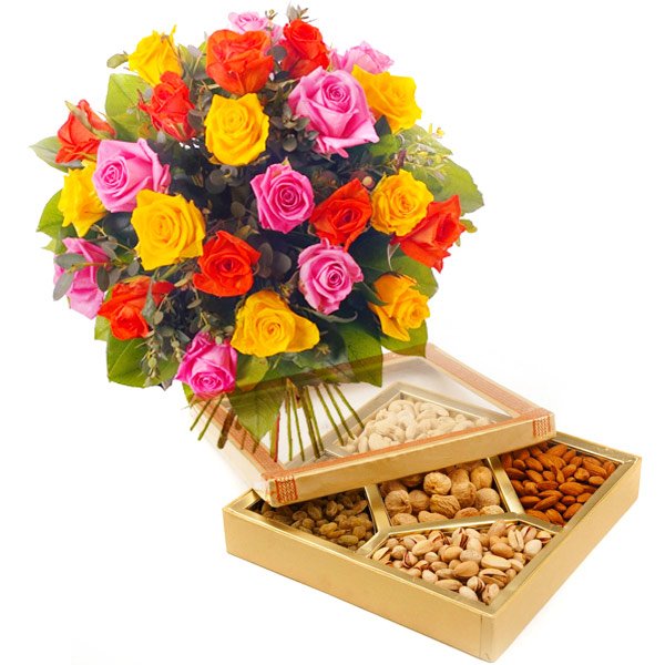 Flower and Dry Fruits - Father's Day Gifts
