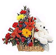 Mixed Flowers Basket with Teddy