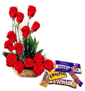 Roses Basket with Chocolates