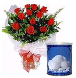 Rasgulla with 12 Red Roses