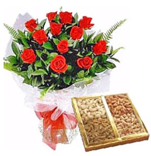 12 Red Roses with Assorted Dry Fruits