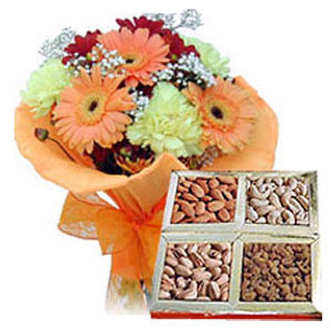 Flowers with Assorted Dry Fruits