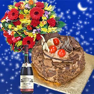 Flowers Cake N Wine Midnight Delivery India