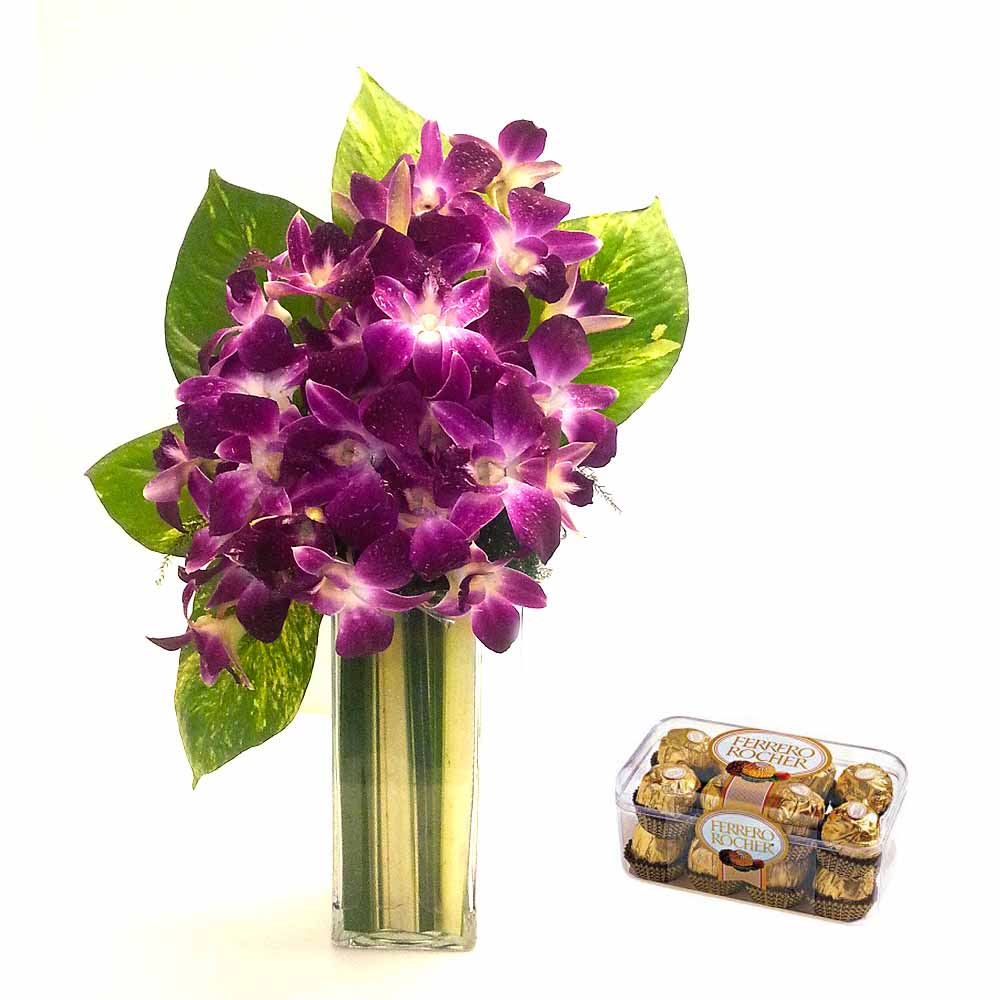 Orchids Vase with choco