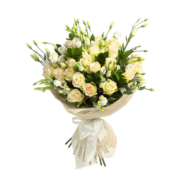 25 white rose bunch