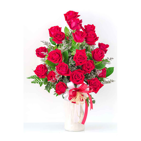 20 Red Roses in a Vase