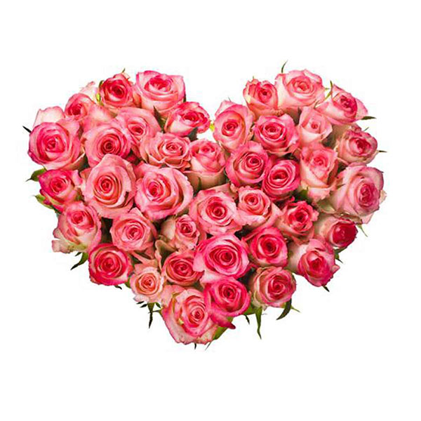40 pink rose heart shape basket
