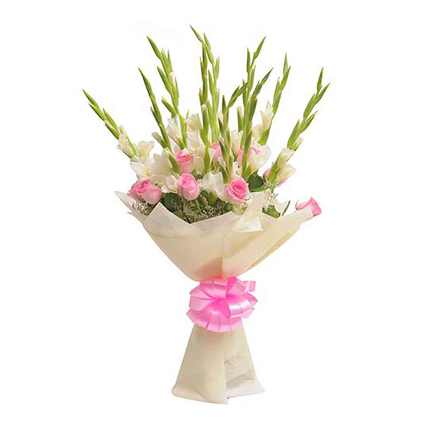 Pune-10 white glad 10 pink rose paper pack bunch