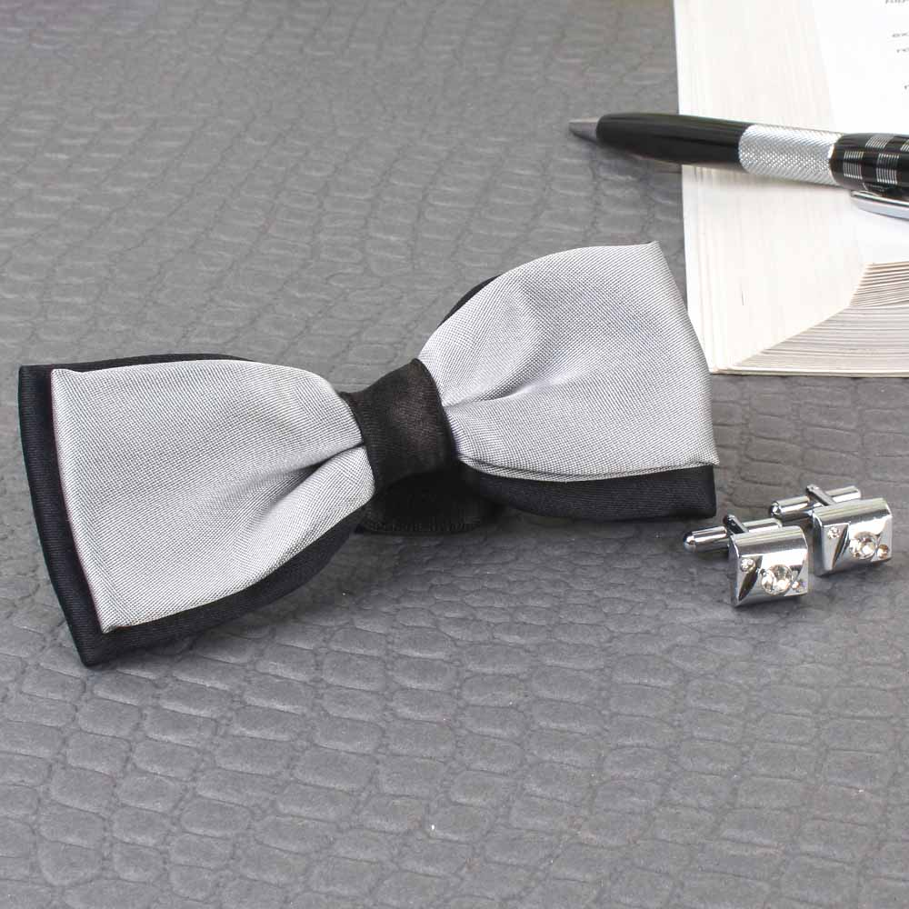 Micro Jacquard Bow Tie with Silver Cufflink