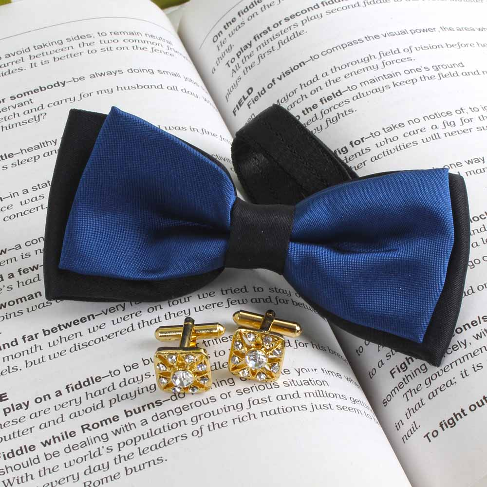 Navy Blue Micro Jacquard Bow Tie with Golden Cufflink