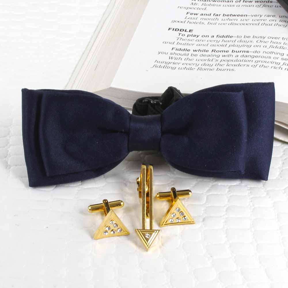 Polyester Navy Blue Bow Tie with Golden Cufflink and Tie Pin