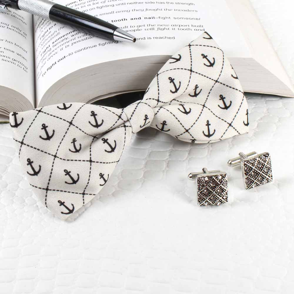 Anchor Polyester Suede Bow with Cufflinks
