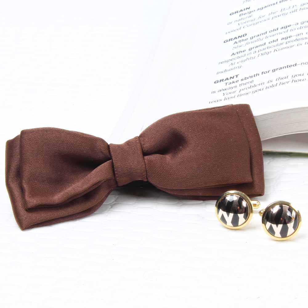 Polyester Brown Bow Tie and Cufflink Set