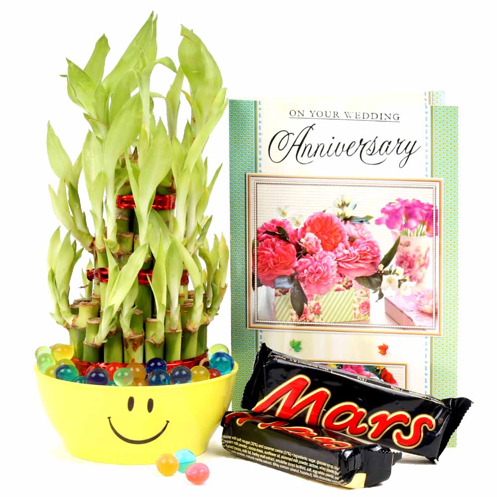Good Luck Bamboo Plant, Mars Chocolate with Anniversary Card.