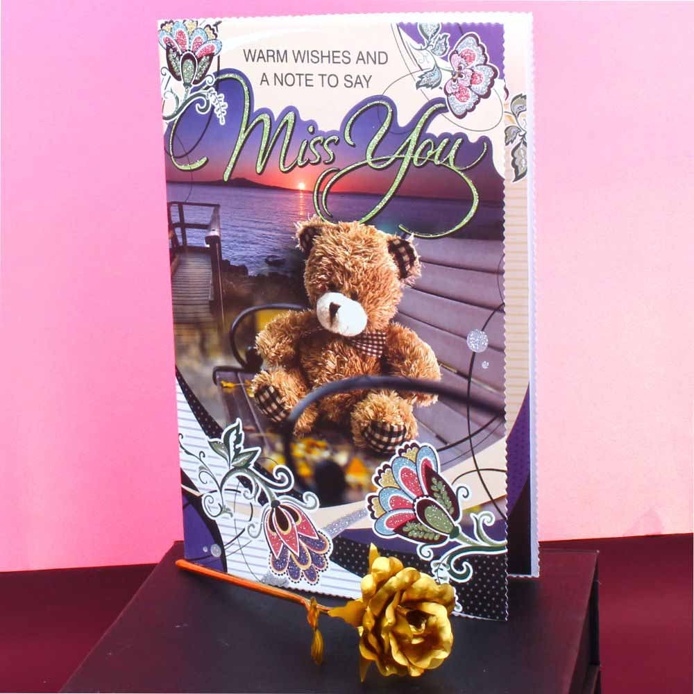 Miss You Card with Gold Rose