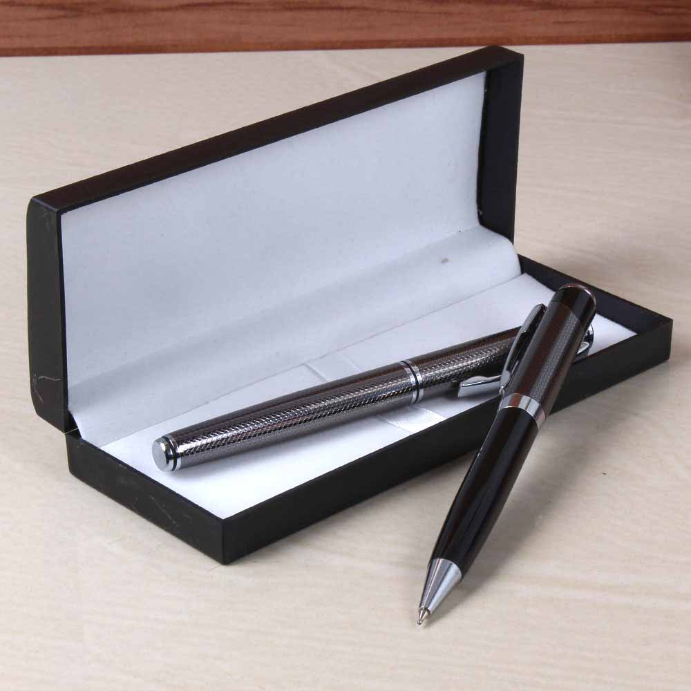 Black and Silver Shiny Ball Pens