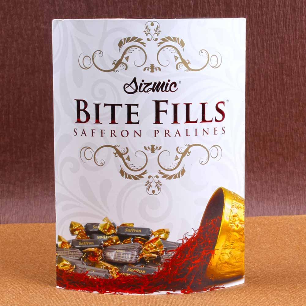 Sizmic Bite Fills Saffron Pralines