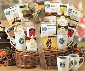 Starbucks and Tea Gift-Starbucks coffee and Tazo Tea Collection Gift Basket