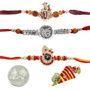 Royal Rakhis-Jewelled Rakhi Set of 3
