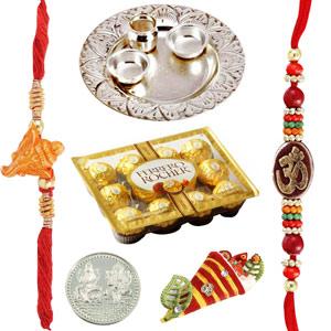 Rakhi Thaali-Silver Thaali with 12 Pieces Ferrero Rocher