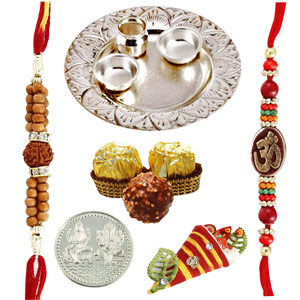 Rakhi Thaali-Silver Thaali with 3 Pieces Ferrero Rocher