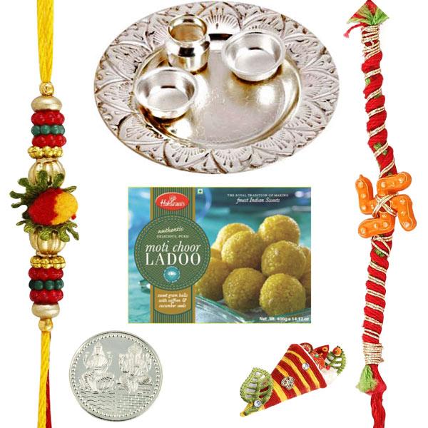Silver Thaali with Haldiram Motichoor Ladoo
