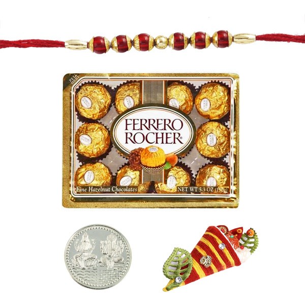 Ethnic Rakhi with 12 pieces Ferrero Rocher