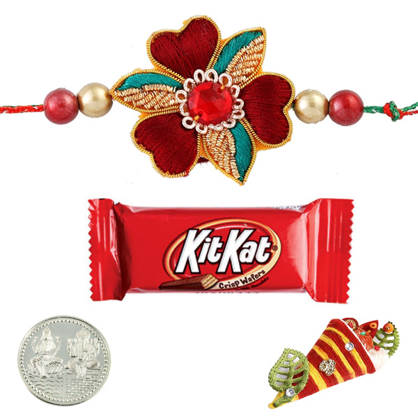 Ethnic Rakhi with KitKat Bar