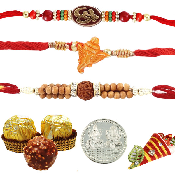 3 Rakhis with 3 pieces Ferrero Rocher