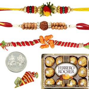 Chocolates-3 Rakhi with 12 pieces Ferrero Rocher