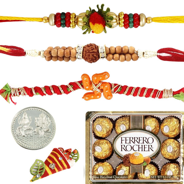 3 Rakhi with 12 pieces Ferrero Rocher