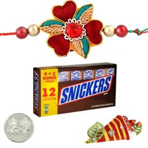 Chocolates-Rakhi with Snickers Milk Chocolate Bars
