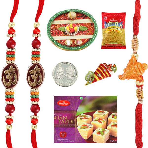 Rakhi Thaali-Rakhi Thaali with 3 Rakhis, Haldiram Soan papadi and 2 mixture
