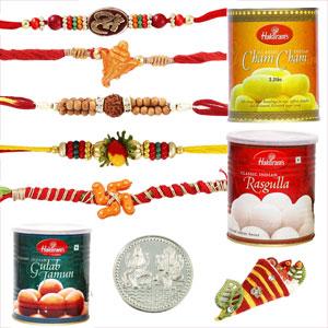 Sweets & Dryfruits-5 Rakhi with Haldiram Rasgulla, Gulab Jamun and Chamcham