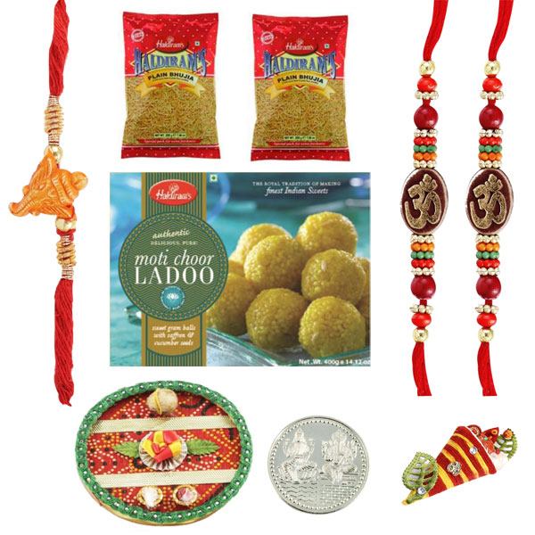 Rakhi Thaali-Rakhi Thaali with 3 Rakhis and Haldiram Motichoor Ladoo and 2 Namkeen
