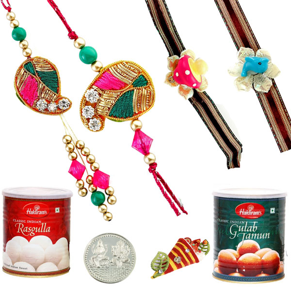 Sweets & Dryfruits-Rakhi Family Set with Haldiram Rasgulla and Gulab Jamun