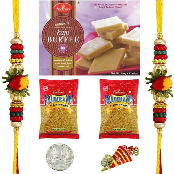 Sweets & Dryfruits-2 Rakhis with Haldiram Kaju Burfi and 2 Namkeen