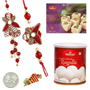 Sweets & Dryfruits-Bhaiya Bhabhi Rakhi Pair with Haldiram Rasgulla and Mega Soan Papadi