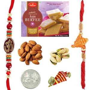 Rakhi Gift Sets-Haldiram Kaju Burfi Dryfruits Rakhi Pack