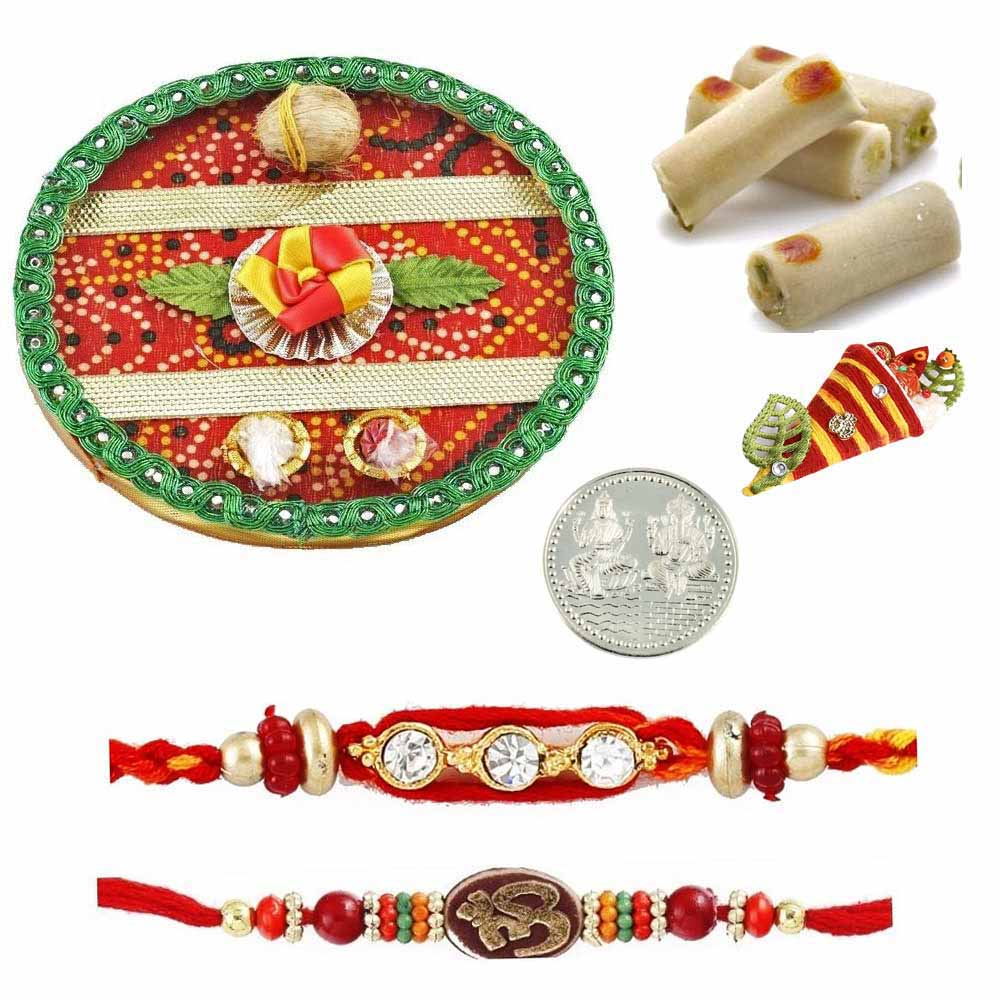 Rakhi Thali with Assorted Rolls and Silver Coin