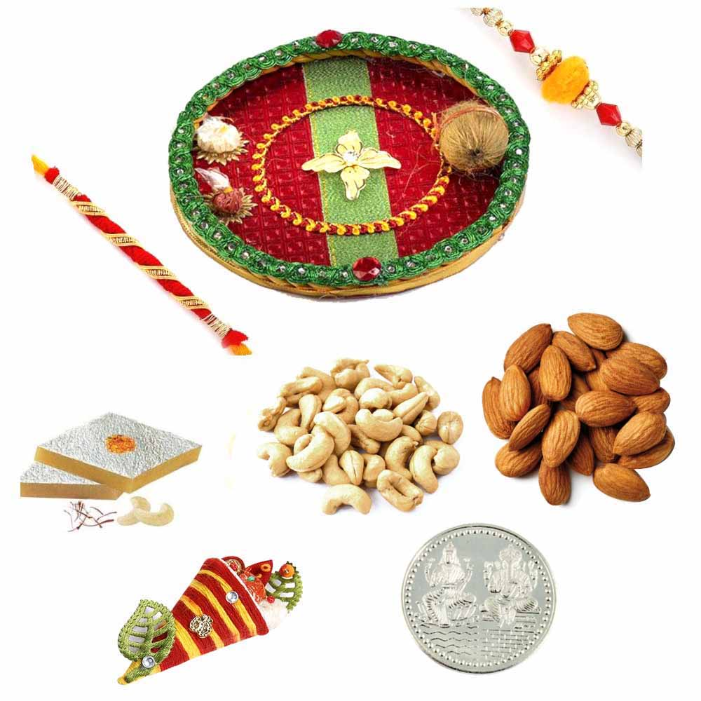 Rakhi Thali with Kaju Katli and Assorted Dryfruits