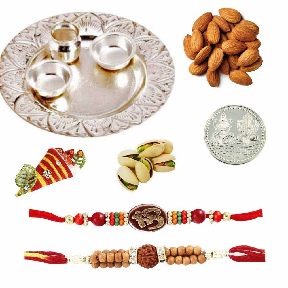 Silver Thali with Dryfruits