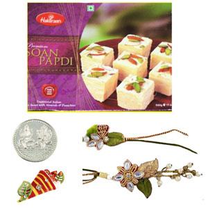 Sweets & Dryfruits-Bhaiya Bhabhi Rakhi with Soan Papdi