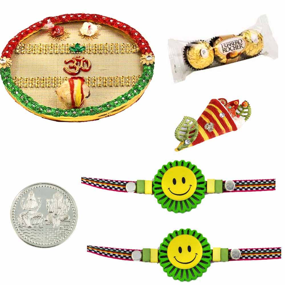 Thali with 2 Kids Rakhis and Ferrero Rocher