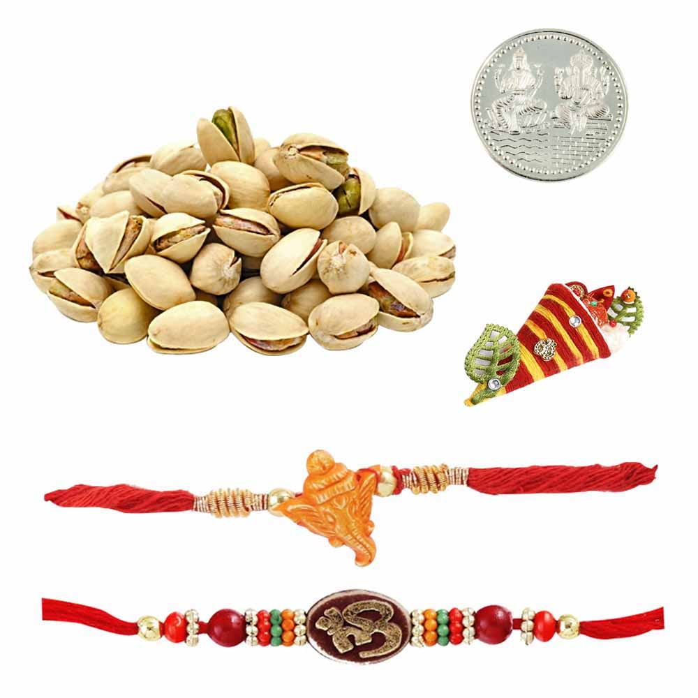 Set of 2 Mauli Rakhis with 0 Pistachios