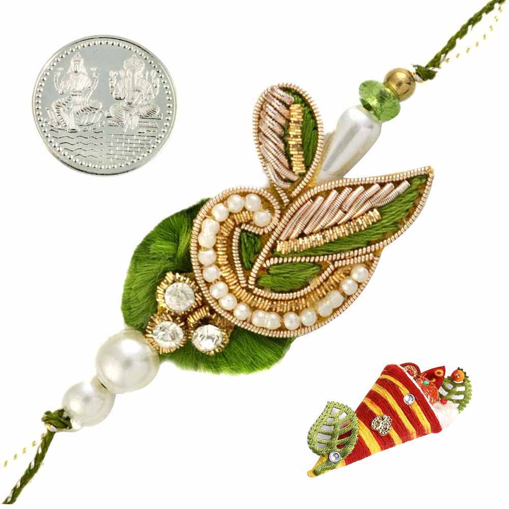 Royal Rakhis-Green Leaf Zardosi Rakhi with Silver Coin