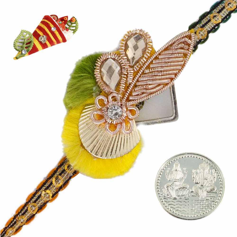 Royal Rakhis-Elegant Zardosi Rakhi with Silver Coin