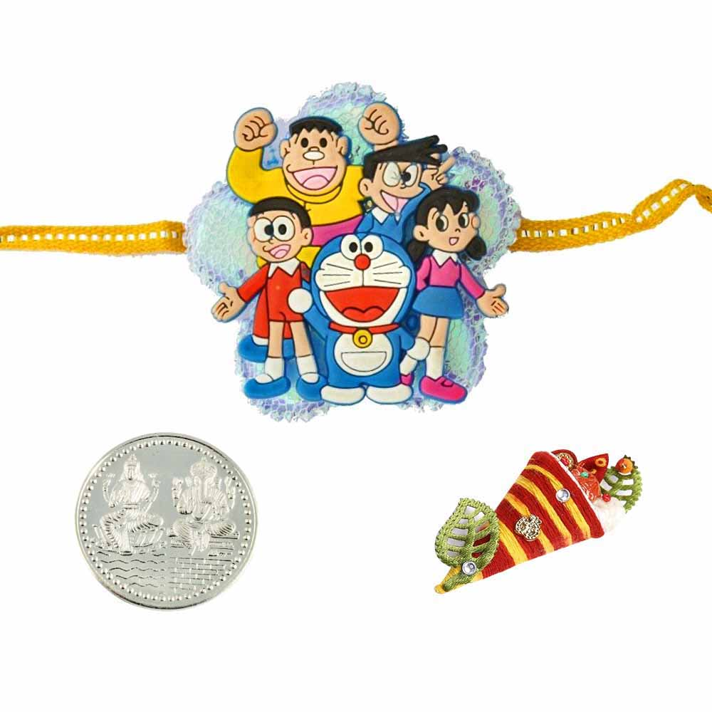 Doremon Group Rakhi with a Silver Coin