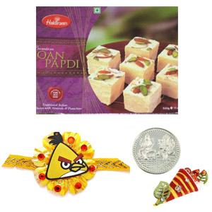 Sweets & Dryfruits-Kids Rakhi with 00 gms Soan Papadi