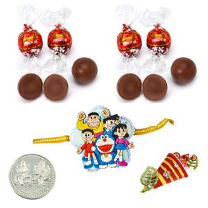 Chocolates-Doremon Rakhi with Lindt 2 Oz